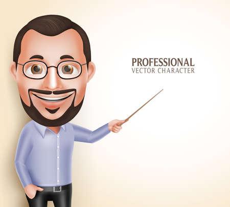 enseñanza: 3D realista Carácter Profesional Viejo Profesor Profesor Hombre Hablando Señalando espacio blanco para el mensaje aislado en el fondo blanco. Ilustración