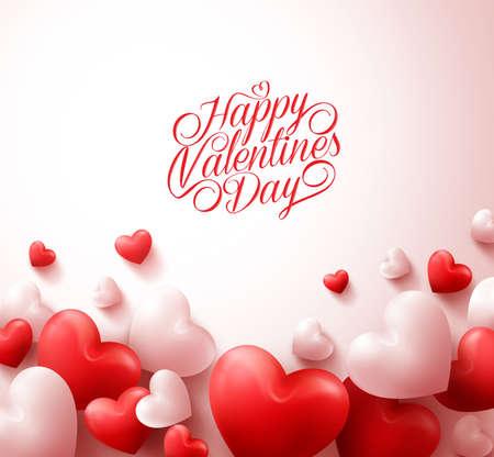 Fondo feliz del día de San Valentín con los realistas en 3D corazones rojos y texto de la tipografía en el fondo blanco. Ilustración