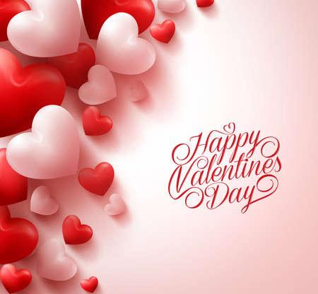 공간 흰색 배경에 3D 현실적인 레드 하트와 달콤한 해피 발렌타인 제목 텍스트입니다. 삽화