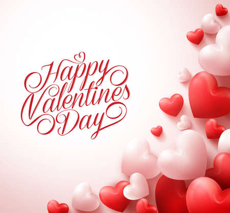 Happy Valentines Day Greetings with 3D Realistic Red Hearts and Typography Text in White Background. Illustration