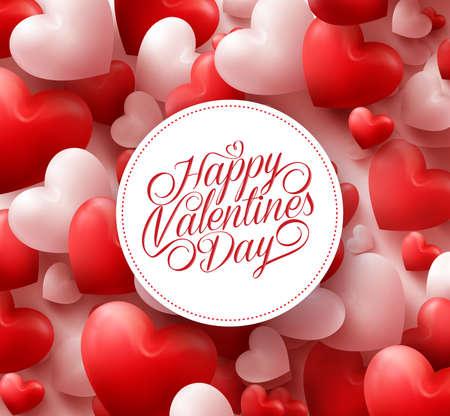 흰색 원에 해피 발렌타인 인사와 함께 3D 현실적인 레드 하트 배경입니다. 삽화
