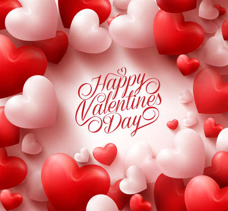 romântico: 3D realista fundo vermelho dos corações com cumprimentos do doce dia dos namorados feliz no meio. Ilustração Ilustração