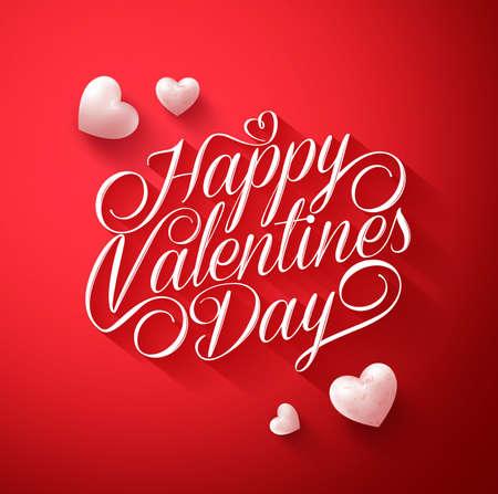 赤の背景に長い影とかわいい白い心に美しい幸せなバレンタインデー タイポグラフィ タイトル。図