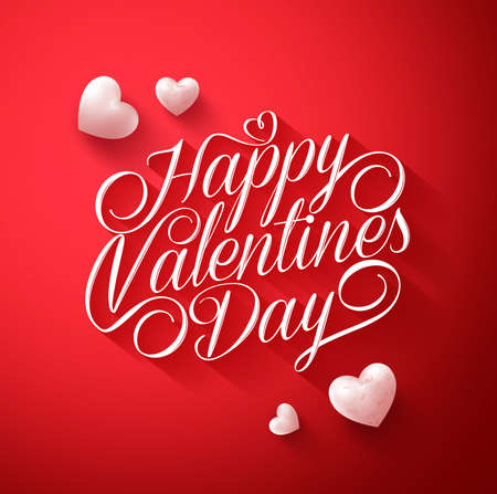 Beautiful Happy Valentines Day Typography Title in Red Background with Long Shadow and Cute White Hearts. Illustration Illustration