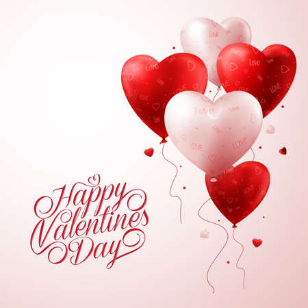 title: 3D Realistic Red Heart Balloons Flying with Love Pattern and Happy Valentines Day Text Greetings in Background. Illustration