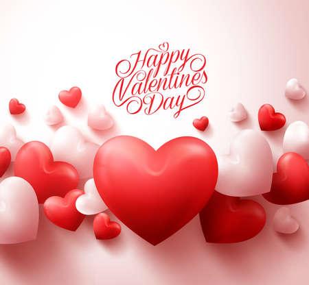 Felice Sfondo di San Valentino con 3D realistiche cuori rossi e tipografia testo in sfondo bianco. Illustrazione Vettoriali