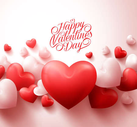 Happy Valentines Day Background with 3D Realistic Red Hearts and Typography Text in White Background. Illustration