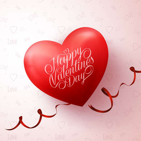 Realistic 3D Sweet Red Heart with Happy Valentines Day Greetings in Love Pattern Background. Illustration Ilustração
