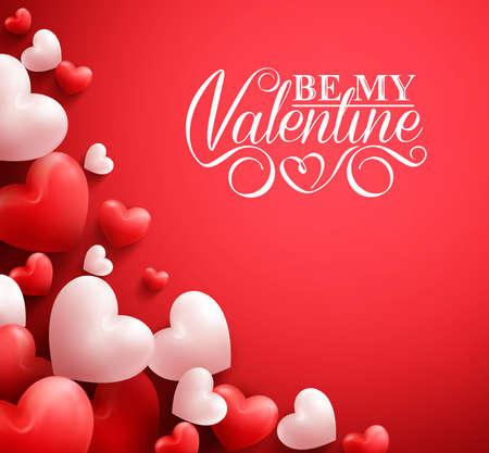 3D realista colorido suave y lisa corazones de la tarjeta en fondo rojo con los saludos del día de San Valentín feliz. Ilustración Ilustración de vector
