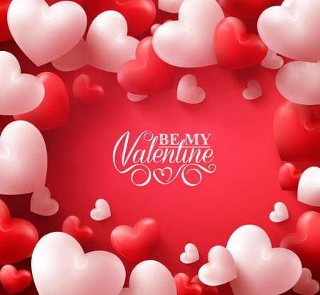 Colorido suave y lisa corazones de la tarjeta en fondo rojo con los saludos del día de San Valentín feliz en el Oriente. Ilustración