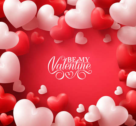 Colorful Soft and Smooth Valentine Hearts in Red Background with Happy Valentines Day Greetings in the Middle. Illustration Vectores