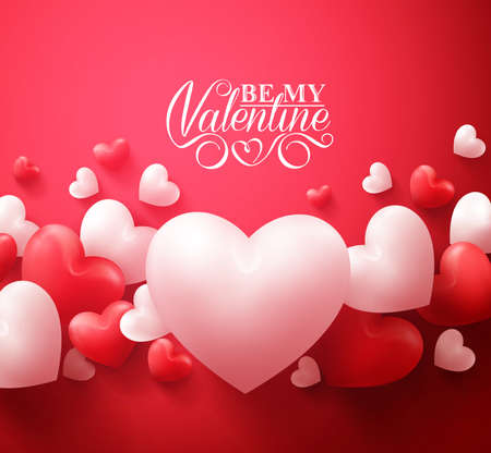 Realista 3D colorido rojo y blanco romántico de los corazones de fondo flotante con los saludos del día de San Valentín feliz. Ilustración