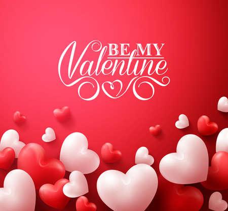 romantico: Realistas 3D coloridos románticos corazones de la tarjeta en fondo rojo flotante con los saludos del día de San Valentín feliz. Ilustración