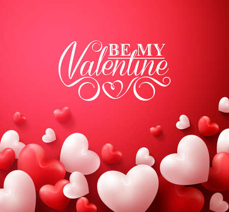 illustration background: Realistic 3D Colorful Romantic Valentine Hearts in Red Background Floating with Happy Valentines Day Greetings. Illustration