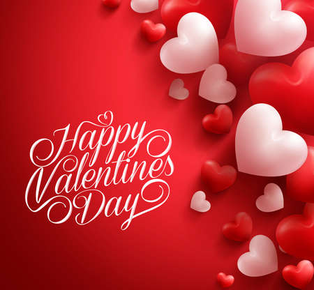valentines: Realistic 3D Colorful Soft and Smooth Valentine Hearts in Red Background Floating with Happy Valentines Day Greetings.  Illustration