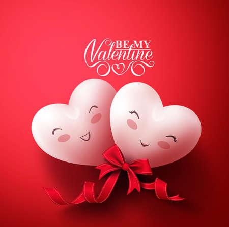 Dolci cuori sorridenti di amanti felici per i saluti Buon San Valentino a sfondo rosso con il nastro. illustrazione vettoriale Vettoriali