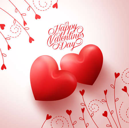 romantic love: Two Red Hearts for Lovers with Happy Valentines Day Greetings in White Background with Flowers  Vine Pattern. Vector Illustration