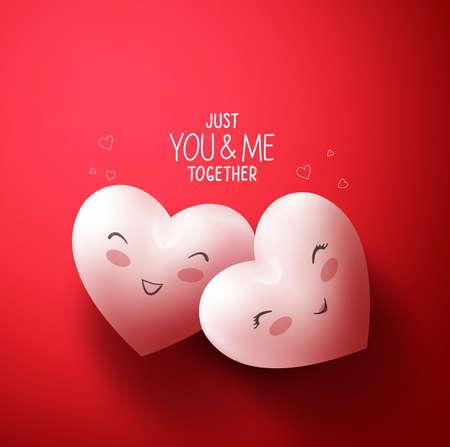 amadores: Corazones dulces de amantes felices de los saludos del día de San Valentín feliz en fondo rojo con Usted y yo junto título. Ilustración del vector Vectores