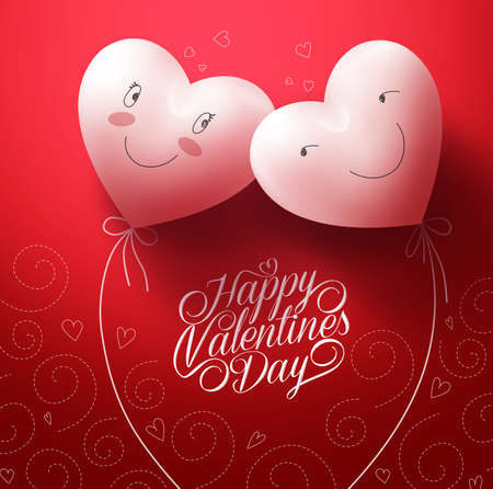february: Two White Hearts Inlove with Happy Face for Valentines day Greetings Card with Pattern Red Background. Vector Illustration
