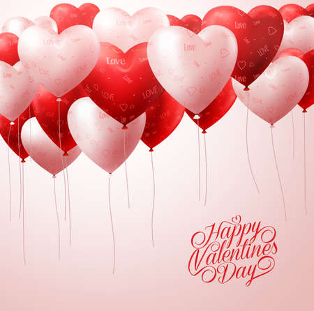 3D Realistic White and Red Heart Balloons Flying with Patterns in White for Valentines Greetings Background. Vector Illustration Vettoriali