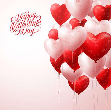 3 D のリアルな白と赤のハート風船メッセージの挨拶と空間バレンタイン背景の光で飛んで。ベクトル図 写真素材 - 50818489