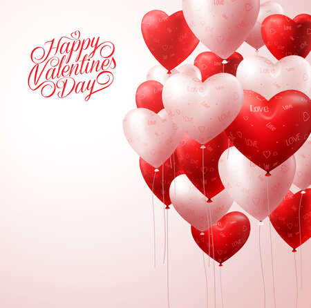 3D Realistic White and Red Heart Balloons Flying in Light for Valentines Background with Greetings and Space for Message. Vector Illustration