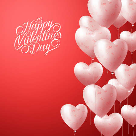 red shape: 3D Realistic Heart Balloons Flying in Red Background for Valentines Background with Greetings and Space for Message. Vector Illustration