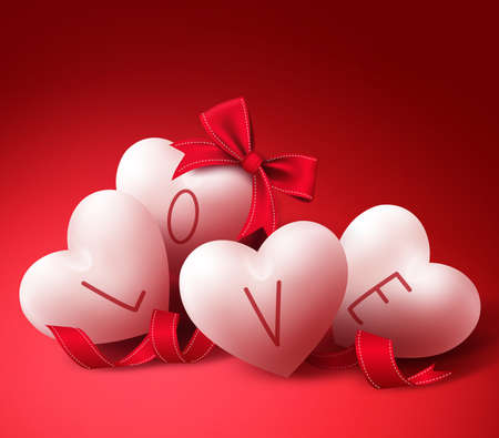 white day: White Love Hearts with Ribbons and Bow for Valentines Day Greeting Card. in Red Background Vector Illustration
