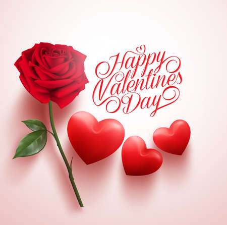3D Realistic Red Rose and Hearts with Happy Valentines Day Message. Vector Illustration