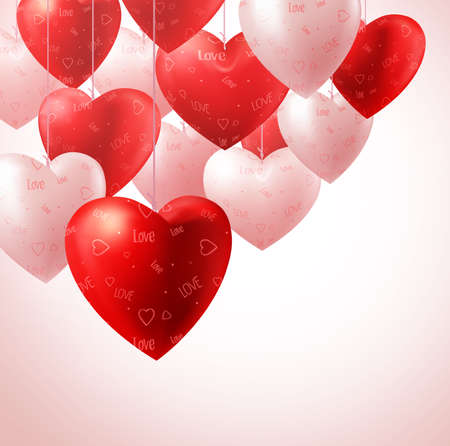 3D Realistic Heart Balloons Hanging for Valentines Background and Greetings Card with Space for Text. Vector Illustration