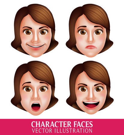 Set of 3D Realistic Vector Face of Woman Head Character with Facial Expressions Isolated in White Background. Vector Illustration