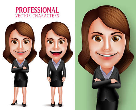 Set of 3D Realistic Professional Woman Character with Business Outfit Happy Smiling in Poses Isolated in White Background. Vector Illustration