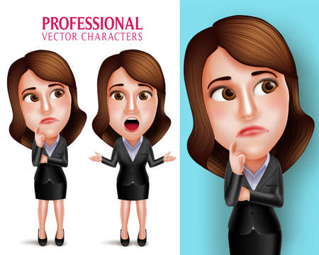 caricatura: Conjunto de 3D realista del personaje Mujer profesional con el pensamiento o equipo del asunto confuso y Hablando en poses aislado en el fondo blanco. Ilustraci�n del vector