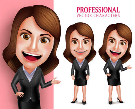 Set of 3D Realistic Professional Woman Character with Business Outfit Happy Smiling while Pointing or Showing in Poses Isolated in White Background. Vector Illustration Vettoriali