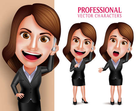 Set of 3D Realistic Professional Woman Character with Business Outfit Happy Smiling While Talking in Mobile Phone Isolated in White Background. Vector Illustration Vettoriali