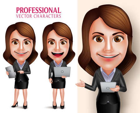 Set of 3D Realistic Professional Woman Character with Business Outfit Happy Smiling Holding Mobile Tablet and Laptop Isolated in White Background. Vector Illustration