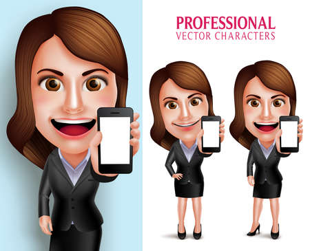 showing: Set of 3D Realistic Professional Woman Character with Business Outfit Happy Smiling Showing Blank Screen Mobile Phone Isolated in White Background. Vector Illustration Illustration