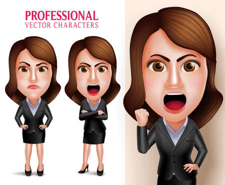 mad: Set of 3D Realistic Professional Business Woman Vector Character Angry and Mad Like a Boss with Crossed Arms Isolated in White Background. Vector Illustration
