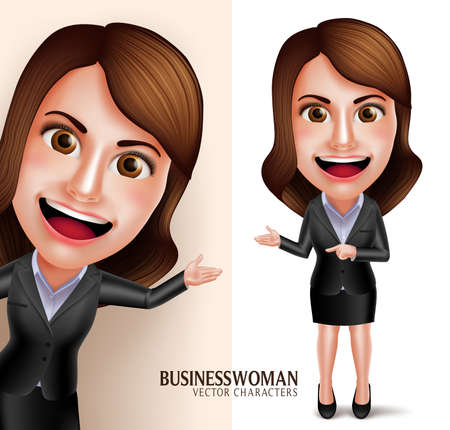 Set of 3D Realistic Professional Business Woman Vector Character with Friendly Smile Showing Presentation Isolated in White Background. Vector Illustration