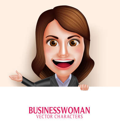 white smile: Set of 3D Realistic Professional Business Woman Vector Character with Friendly Smile Holding Empty White Board with Space for Message Isolated in White Background. Vector Illustration