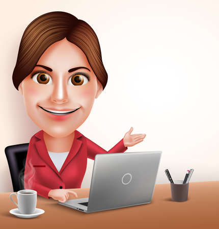 3D Realistic Professional Businesswoman or Secretary Vector Character Working in Office Desk with Laptop Pointing Empty Space. Vector Illustration