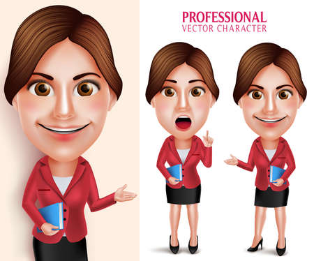good looking: Set of 3D Realistic Good Looking Professional School Teacher Vector Character Smiling Holding Books while Talking Isolated in White Background. Vector Illustration Illustration