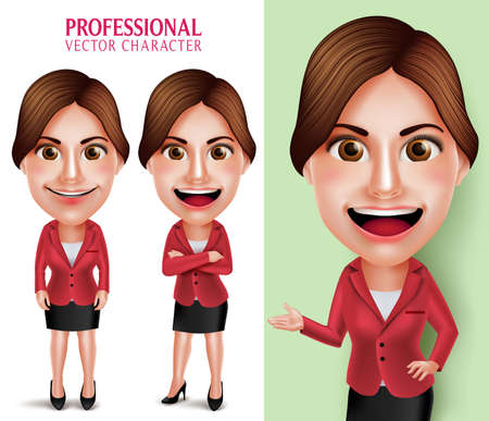 Set of 3D Realistic Good Looking Professional School Teacher or Businesswoman Vector Character Smiling Crossed Arms while Talking Isolated in White Background. Vector Illustration 向量圖像
