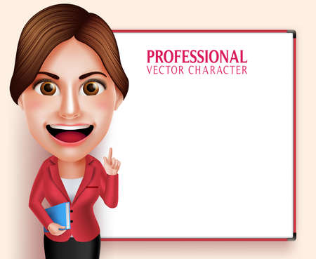 caricature woman: 3D Realistic Good Looking Professional School Teacher Vector Character Smiling Holding Books while Teaching Lessons in Empty White Board. Vector Illustration
