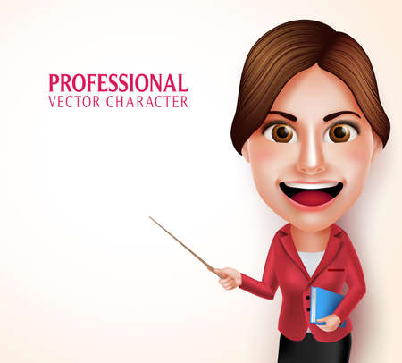 3D Realistic Good Looking Professional School Teacher Vector Character Smiling Holding Books while Teaching Lessons Pointing an Empty Space. Vector Illustration