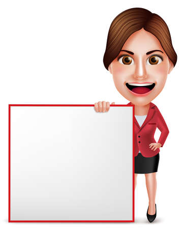 woman computer: 3D Realistic Professional Businesswoman or Secretary Vector Character Working in Office Desk with Laptop Pointing Empty Space. Vector Illustration