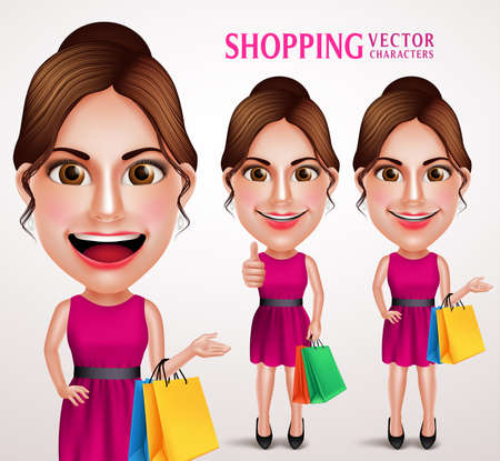 woman speaking: Fashion Woman Vector Character Holding Shopping Bags Wearing Pink Dress, Good Hairstyle and Makeup. Vector Illustration Illustration