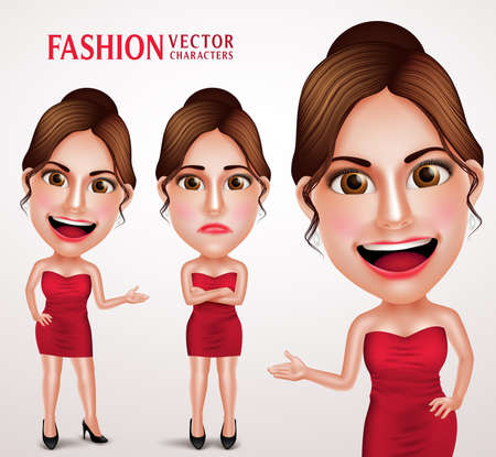 girl happy: Gorgeous Fashionable Woman Vector Character Posing Like Model Wearing Red Elegant Dress, Good Hairstyle and Makeup. Vector Illustration