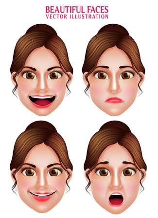 expresiones faciales: Conjunto de 3D realista de maquillaje Hermosa Caras del carácter de la mujer del vector con las expresiones faciales aislarse en fondo blanco. Ilustración del vector Vectores