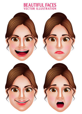 shocked: Set of 3D Realistic Beautiful Makeup Faces of Woman  Vector Character with Facial Expressions Isolated in White Background. Vector Illustration